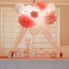 lantern, shower decorations, girl baby showers, baby shower ideas, pompom, paper pom poms, babi shower, bridal showers, parti