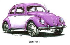 Violet 1954 Volkswagon Beetle