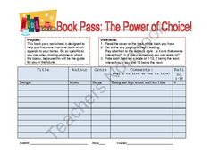 Book Pass from Team Panther Resource Spot on TeachersNotebook.com -  (1 page)  - Book Pass Activity to help students find the right books for them to read independently