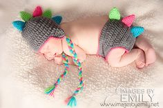 Dinosaur Animal Hat and Diaper Cover SET -- Infant Crochet Dino Hat Set -- CUSTOM You pick size and colors. $40.00, via Etsy.