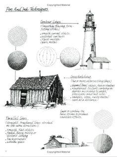 Pen and ink techniques by Claudia Nice from her book: Painting Weathered Buildings in Pen, Ink  Watercolor