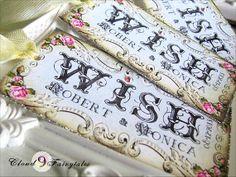 100 Wedding Escort Cards Wish Tree Tags Vintage Favor Gift Tags Wishing Tree Tags Personalized Swarovski rhinestone -$78.00