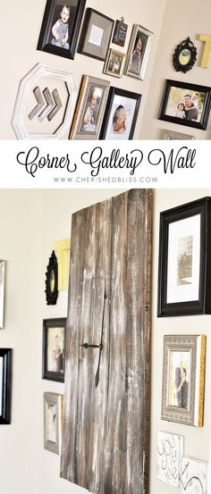 This DIY Corner Gallery Wall features an eclectic blend of frames and special memories!