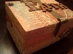 """A beautiful prayer box.  This is more-or-less how I make mine, too.  Pretty boxes and found items are perfect.  Great craft to do with kids, too! """"Prayer Box created with mod podge, tacky glue, Bible pages, scrapbook paper, carboard and wooden letters, paint, doilies, lace, and other decals."""""""