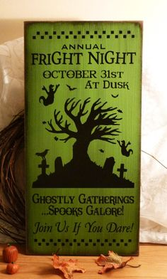 Primitive Halloween Sign Annual Fright Night by 2ChicksAndABasket, $26.95