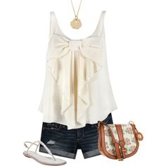 CHIFFON BOW top, Abercrombie & Fitch short pants, Crystal sandals, Fossil bag, 14k Gold Necklace