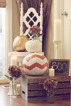 diy: chevron pumpkin #fall #halloween