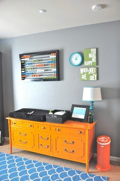 Paint a vintage dresser a bold color and use as a changing table! #nursery