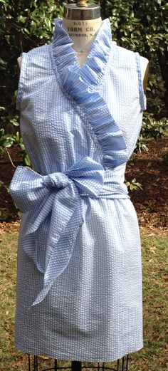 Aly  lined seersucker ruffles by RysaRuth on Etsy, $74.00