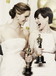 Anne and J. Law! hollywood stars, movie stars, ann hathaway, beauti peopl, jennif lawrenc, actress, celebr, jennifer lawrence, anne hathaway