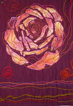 Spinning a Rose by Patricia Porter, 2012, Mountain Art Quilters challenge: no straight lines