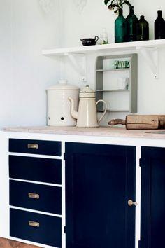 dark blue cabinet fronts