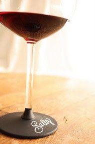 Wine glass dipped in chalkboard paint