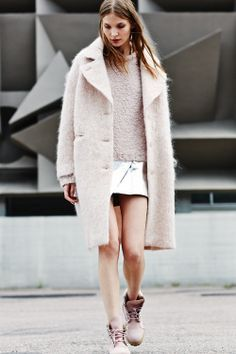 jacket, pastel, fashion, boot, outfit, street styles, blush pink, coat, style tips