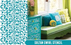 Get the look with Sultan Swirl Stencil by Royal Design Studio | Paint + Pattern