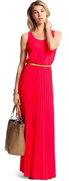 Pleated Maxi with Neon Belt