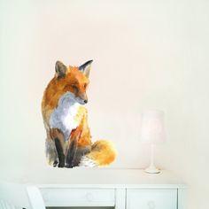 Fabric wall sticker, from original watercolor  fox painting, collaboration with Kokoko. www.chocovenyl.co.uk