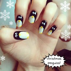 How cute are these guys! Penguin nails!