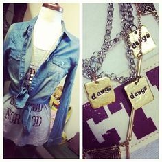 denim top with layered necklaces  Check us out on facebook & twitter!  www.facebook.com/deepsouthpout