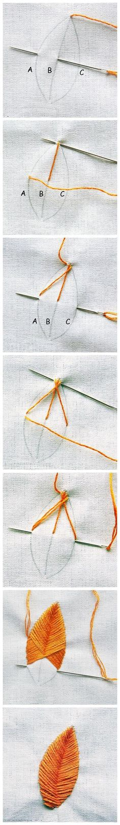 Leaf sew, craft, embroid leav, embroidery stitches, leaves, feather, diy, embroideri, old jeans
