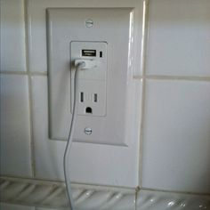 Upgraded our wall socket in the kitchen where we charge our devices to USB functionality. Took My Man Tony less than 7 minutes from start to finish!