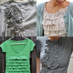 DYI Ruffle Shirts. Love these! Simple directions!