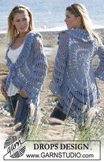 """DROPS circle jacket crochet with 2 strands """"Alpaca"""". Sizes S-XL ~ DROPS Design"""