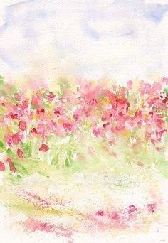 Spring Meadow Art  PRINT my  Watercolor  flower landscape 8x11 floral decor spring home  illustration meadow - orange fuchsia green on Etsy, $22.54 CAD