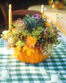 Pumpkin arrangement. Reminds me of my wedding centerpieces.