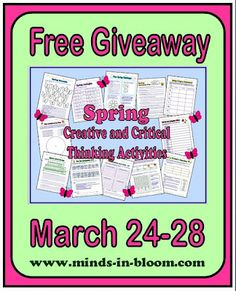 Get a twelve-page Spring Creative and Critical Thinking Activity Pack for free March 24-28.
