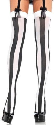 Black and White Vertical Stripe Tights