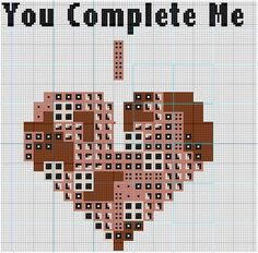 """You Complete Me"" Tetris cross stitch pattern"