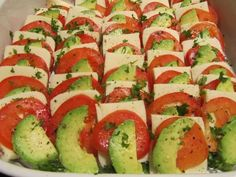 Balsamic Mozzarella-Tomato-Avocado Appetizers.