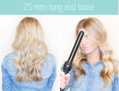 What your hair will look like with a 25mm, 19mm, and tapered curling wand...Love my Jose Eber 3-in-1!