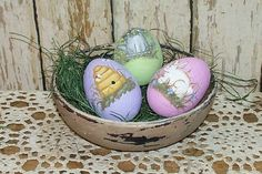 Easter Eggs in Bowl Hand Painted  Primitive Folk Art by raggedyjan
