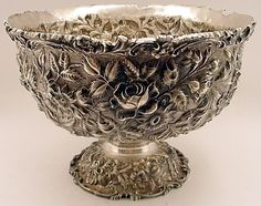 Large repousse sterling punch bowl, Baltimore Rose, Schofield Co., Baltimore, MD