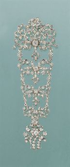 A late 18th century diamond bodice ornament mounted as a brooch