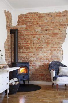 wood burning stoves, decor, fireplac, brick wall, expos brick, bricks, front room, exposed brick, wood stoves