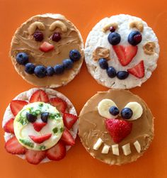 Rice Cake Faces can be made with peanut butter, cream cheese, honey, natural preserves, fruit, eggs, nuts and/or seeds and are fun to make!