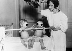 Tanning babies at the Chicago Orphan Asylum, 1925. The practice was used to offset rickets during the winter months.