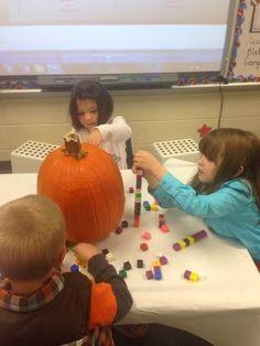 Pumpkin measurement, observations, the icky inside, our pumpkin tasting!