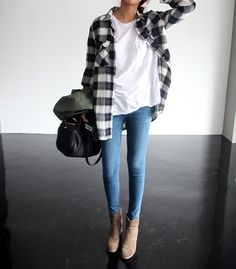 grey check flannel, plain white T, skinnies, and booties