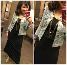 MAXI DRESS FOR THE WIN!!!  Basic Black maxi with my MUST HAVE jacket and MUST HAVE wedges!