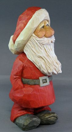 Santa Christmas gnome wood carving caricature Nordic by cjsolberg