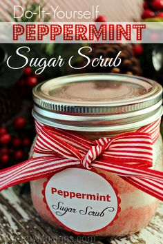 DIY Peppermint Sugar Scrub (Christmas gift idea!)