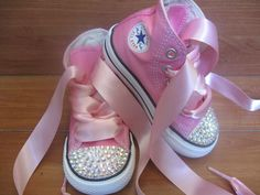 PINK BLING CONVERSE High Tops Size Infant/Toddler 2 - Youth 3 with Swarovski Crystals - Also Available in Black and Red Converse. $69.95, via Etsy.
