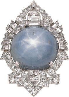 Star Sapphire, Diamond, Platinum Ring, circa 1950