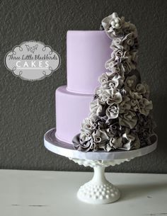 Romance & Ruffles - A ruffled engagement cake with the couples wedding colors purple and gray. TFL!