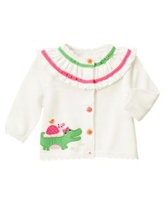 So many cute details! Our ruffle cotton sweater cardigan features sweet flower buttons, ticked grosgrain ribbon and bows, plus appliquéd and embroidered alligator and friends with satin ribbon bow for a playful look. 100% cotton. For sizes 0-3 to 18-24 months. Buttons in front for easy dressing. Machine washable. Imported. Collection Name: Turtle & Friends.