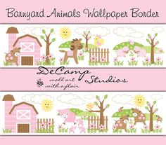 Pink Barnyard Animals Wallpaper Border Wall Decals for Baby Girl Farm Nursery or children's Room Decor #decampstudios